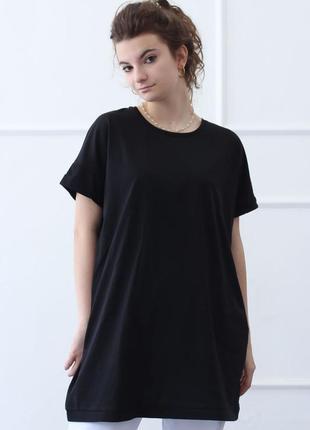 Стильная туника футболка оверсайз 100% хлопок, акционная цена от 2-х шт. р. 42-52. черная голубая