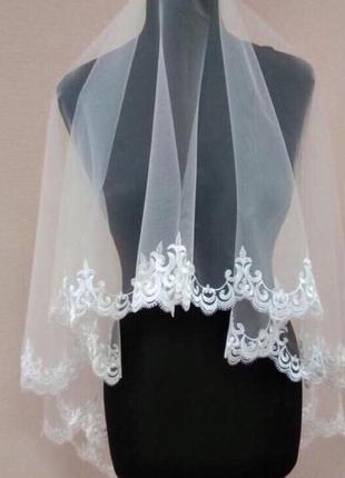 Свадебная фата кружевная, вышивка белая, айвори  140*140 см