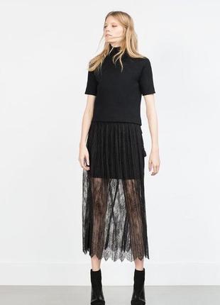 Шикарная нарядная юбка миди юбка плиссе плиссированная юбка с кружевом спідниця міді