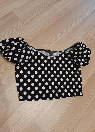 Кроп топ в горошек майка футболка