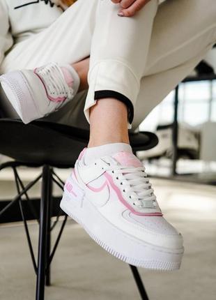 Кроссовки найк женские форсы аир форс кеды nike air force shadow pink4 фото