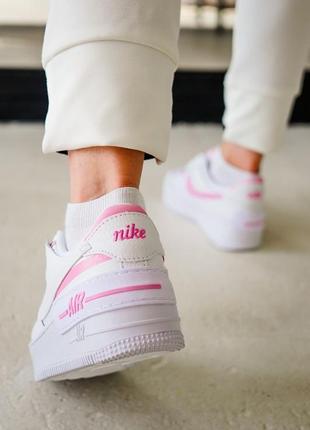 Кроссовки найк женские форсы аир форс кеды nike air force shadow pink8 фото