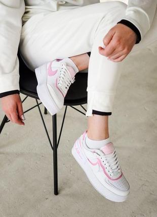 Кроссовки найк женские форсы аир форс кеды nike air force shadow pink3 фото