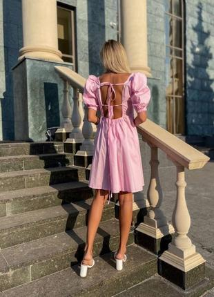 Котоновое платье с открытой спиной