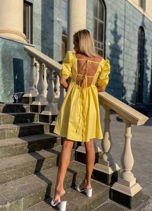 Котоновый сарафан платье с открытой спиной