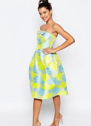 Пышное платье с цветочным принтом asos, р-р 8