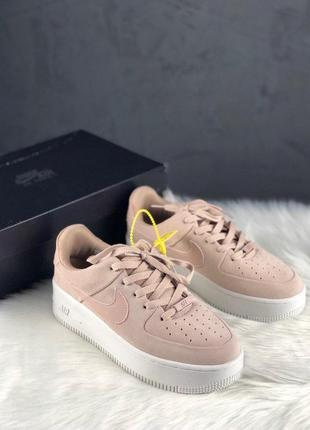 Nike air force shadow sage platform beige3 фото