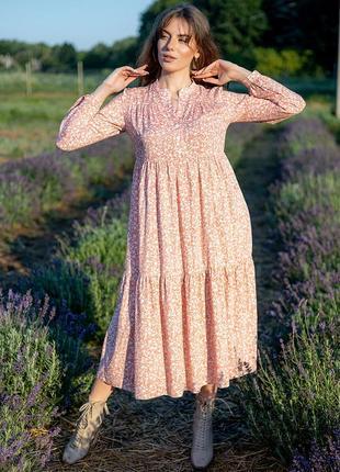 Платье миди в цветок цветочек цветочный принт с длинным рукавом