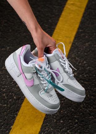 Nike air force shadow white grey кроссовки найк женские форсы аир форс кеды обувь взуття10 фото