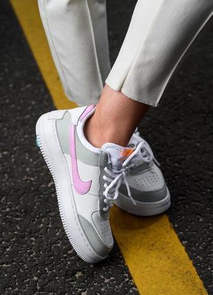 Nike air force shadow white grey кроссовки найк женские форсы аир форс кеды обувь взуття7 фото