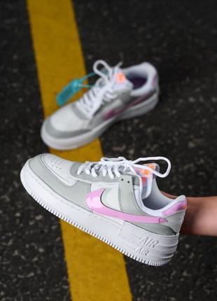 Nike air force shadow white grey кроссовки найк женские форсы аир форс кеды обувь взуття6 фото