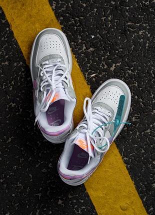 Nike air force shadow white grey кроссовки найк женские форсы аир форс кеды обувь взуття2 фото