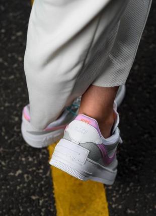 Nike air force shadow white grey кроссовки найк женские форсы аир форс кеды обувь взуття8 фото