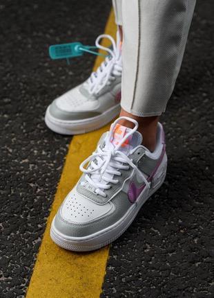 Nike air force shadow white grey кроссовки найк женские форсы аир форс кеды обувь взуття9 фото