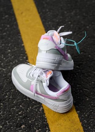 Nike air force shadow white grey кроссовки найк женские форсы аир форс кеды обувь взуття5 фото