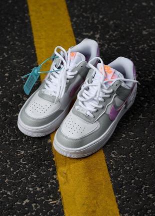 Nike air force shadow white grey кроссовки найк женские форсы аир форс кеды обувь взуття4 фото