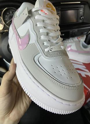 Nike air force shadow grey pink кроссовки найк женские форсы аир форс кеды обувь6 фото