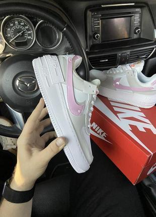 Nike air force shadow grey pink кроссовки найк женские форсы аир форс кеды обувь