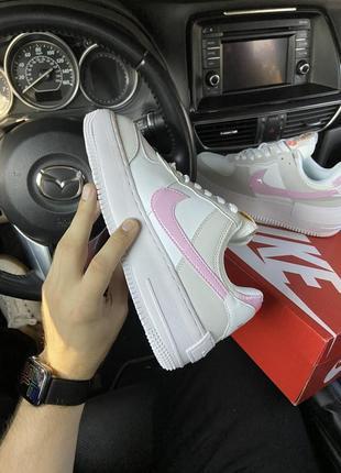 Nike air force shadow grey pink кроссовки найк женские форсы аир форс кеды обувь4 фото