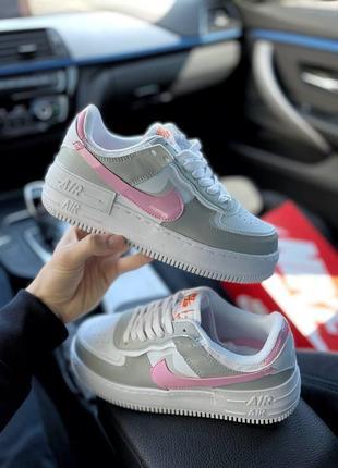 Найк женские форсы аир форс кеды кроссовки nike air force shadow grey pink2 фото