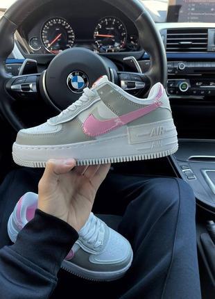 Найк женские форсы аир форс кеды кроссовки nike air force shadow grey pink3 фото