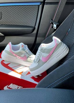 Найк женские форсы аир форс кеды кроссовки nike air force shadow grey pink