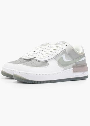 Nike air force shadow white grey кроссовки найк женские форсы аир форс кеды4 фото