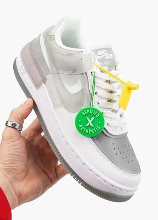 Nike air force shadow white grey кроссовки найк женские форсы аир форс кеды9 фото