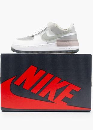 Nike air force shadow white grey кроссовки найк женские форсы аир форс кеды8 фото
