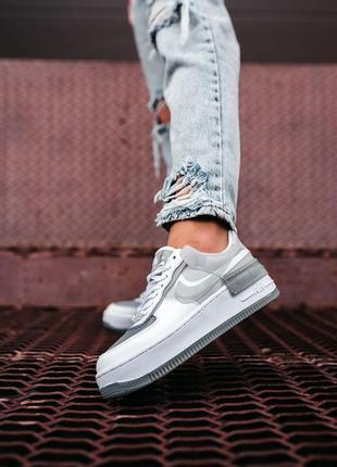 Nike air force shadow white grey кроссовки найк женские форсы аир форс кеды