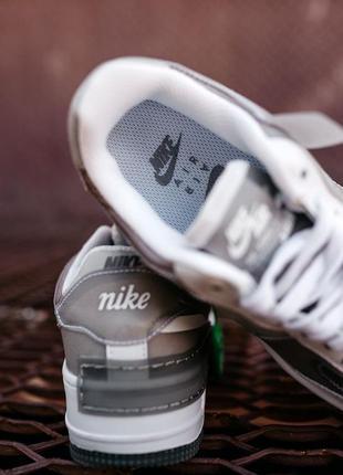 Nike air force shadow white grey кроссовки найк аир форс кеды женские7 фото