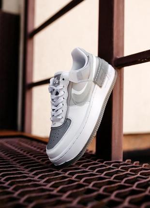 Nike air force shadow white grey кроссовки найк аир форс кеды женские4 фото
