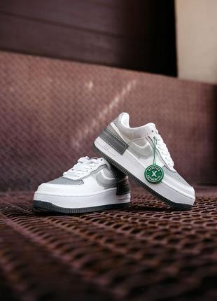 Nike air force shadow white grey кроссовки найк аир форс кеды женские8 фото