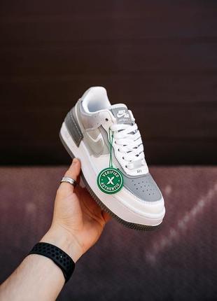 Nike air force shadow white grey кроссовки найк аир форс кеды женские1 фото