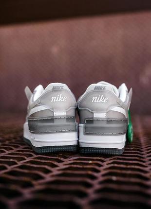 Nike air force shadow white grey кроссовки найк аир форс кеды женские3 фото