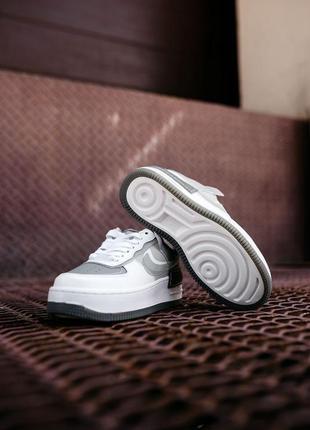 Nike air force shadow white grey кроссовки найк аир форс кеды женские6 фото