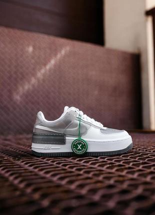 Nike air force shadow white grey кроссовки найк аир форс кеды женские9 фото