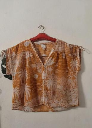 Летняя блуза h&m в тропический принт