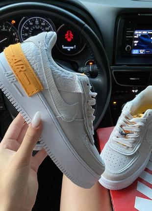 Nike air force 1 shadow white orangeкроссовки найк женские форсы аир форс кеды обувь