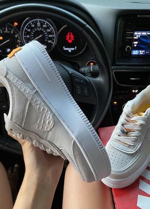 Nike air force 1 shadow white orangeкроссовки найк женские форсы аир форс кеды обувь4 фото