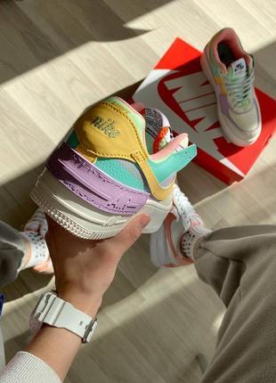 Nike air force shadow beige violet кроссовки найк женские форсы аир форс кеды7 фото