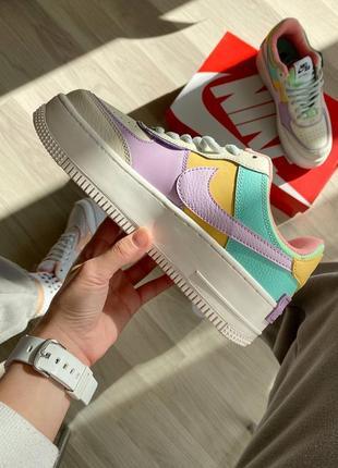 Nike air force shadow beige violet кроссовки найк женские форсы аир форс кеды8 фото