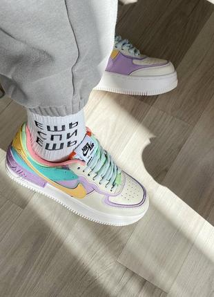 Nike air force shadow beige violet кроссовки найк женские форсы аир форс кеды2 фото