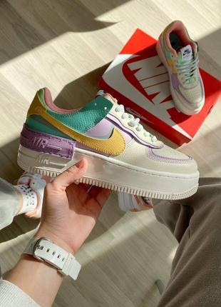 Nike air force shadow beige violet кроссовки найк женские форсы аир форс кеды