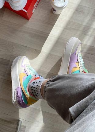 Nike air force shadow beige violet кроссовки найк женские форсы аир форс кеды6 фото