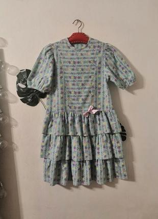 Детское винтажное платье в цветочный принт, винтаж