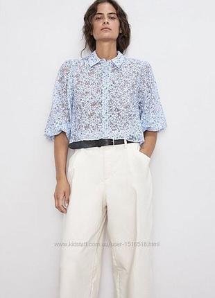 Голубая блуза в цветочный принт с объёмными рукавами буфами zara m-l