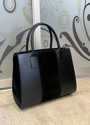 Сумка кожаная чёрная деловая сумка женская сумка жіноча чорна ділова сумка шкіряна