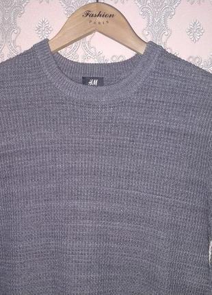 Мужской серый пуловер джемпер h&m