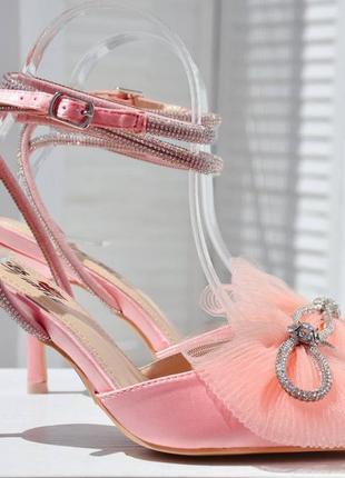 Туфли с бантиком атласные розовые шпилька